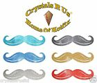 FABRIC GLITTER mustache IRON-ON HOTFIX CUSTOM FANCY PARTY T-SHIRT TRANSFER PATCH
