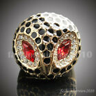 Cute Gold GP Clear White Crystal Red Stone Eye Black Owl Cocktail Ring BLR067