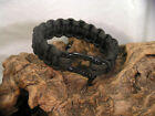 Handmade Black Military Paracord Survival Bracelet w/Black SS Shackle  11 Sizes
