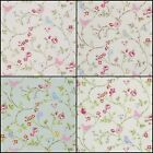 Clarke & Clarke Bird Trail Rose,Grey,Chintz Designer Curtain Upholstery Fabric