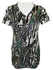 California Bloom Geometric Floral Print Short Sleeve Top Accented w/ Rhinestones