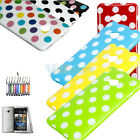 New Cute Polka Dots TPU Case Cover + Film + Pen for HTC One M7 Color Bottom
