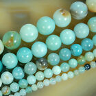 "Natural Colorful Amazonite Round Beads 15.5"" 4,6,8,10,12mm"