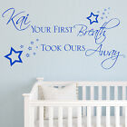 Baby Wall Sticker Quote - Personalised Your First Breath Boy Child Nursery Art