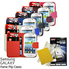 NEW SAMSUNG GALAXY FAME S6810 FLIP BOOK WALLET PU LEATHER CASE COVER FREE SCREEN