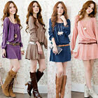 Womens Ladies Ruched Crew Neck Long Casual Sleeve Tunic Mini Dress