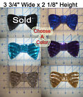 "4"" Spangle Paillettes Sequin Bowtie Outline Seed Beads Bow Tie Applique VTG"