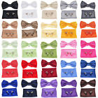 Mens Check Silk Pre-tied Bowtie+Hanky+Cufflinks Set Wedding Party Tuxedo Bow Tie