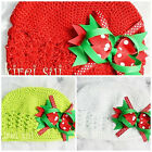 Baby Girls Crochet Kufi Hat Beanie Christmas Bow GCBW12