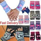 Women Wrist Hand Warmer Fingerless Arthritis Cherry Face Computer Gloves Mitten