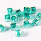 Hotsale 95pcs square Green shining Beads Faceted Glass Crystal Spacer Bead N8679