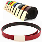 Multi-Color Men Women Chic Solid Color PU Leather Buckle Waist Belt Waistband