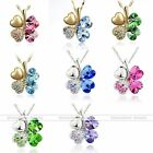 Silver Golden Crystal Heart Love 4 Leaf Clover Flower Chain Necklace Pendant 1PC