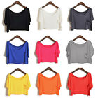Vogue New Womens Short Batwing Sleeve Loose T-Shirt Blouse Crop Tops Cropped