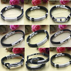 Punk Men's Black Rubber Stainless Steel Chain Wristband Clasp Bangle Bracelet