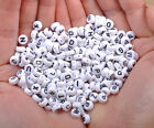 50Pcs Acrylic SINGLE LETTER A-Z White Disc ALPHABET Spacer Beads Findings 7X4MM