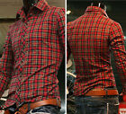 Fashion Mens Casual Tops Slim Fit Stylish Red Checkered Dress Shirts S M L XL