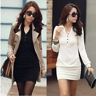 Women Fashion Graceful Solid Color Long Sleeve Lapel Long T-shirt Mini Dress Top