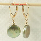 14k Yellow Solid Gold Leverback Pistachio Coin Cultured Pearl Dangle Earring TPJ