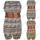 NEW WOMENS LADIES ZIGZAG PRINT BOOBTUBE PLAYSUIT TOP SHORTS STRAPLESS SUIT DRESS