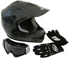 Youth Carbon Motocross Dirt Bike Helmet MX ATV with Goggles/Gloves Combo~S, M, L