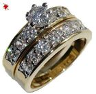 2 CARAT ROUND GOLD EP WEDDING ENGAGEMENT RING SET SZE 4 5 6 7 8 9 10 11 FREE BOX