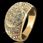 18K GP White GP Men's Jewelry Crystal Ring Size 7 8 9 10 #