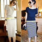 Womens Girls Casual Slim Fit Short Sleeve Stripe Stripes Midi Dress