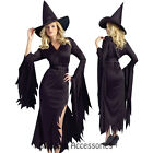 C815 Womens Black Gothic Witch Halloween Fancy Dress Adult Costume S/M M/L Plus