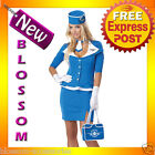 C646 Retro Stewardess Flight Attendant Air Hostess 60s 70s Fancy Dress Costume