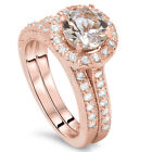 2.50CT Vintage Morganite & Diamond Ring Set 14K Rose Gold Hand Engraved Antique