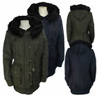 LADIES WOMENS OVERSIZED FUR HOODED PADDED WARM MILITARY PARKA JACKET COAT 8-16