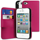 STYLISH PU LEATHER WALLET FLIP CASE COVER SKIN HOLDER FOR APPLE iPHONE 4 / 4S