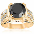 5.60CT Black & White (4.00CT Center) Diamond Engagement Ring 14 KT Yellow Gold