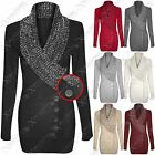 NEW WOMENS LADIES CONTRAST KNIT SHAWL COLLAR NECK BUTTON JUMPERS LONG DRESS TOP