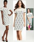 $325 Diane Von Furstenberg DVF Barbie Ivory & Black Stretch Lace Shift Dress