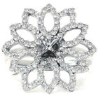 .85CT Diamond Flower Ring Engagement Setting Semi Mount 14K White Gold Pave New