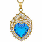 Lady Fashion Jewelry Heart Cut Green Emerald Gem Gold Pendant Necklace