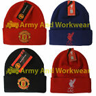 Mens Football Footie Crest Beanie Knitted Hat Official Licenced Product Adults