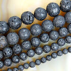 Natural Black Volcanic Lava Stone Round Beads 15.5