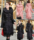 Women's Duck Down Coat Lace Hem Hooded Long Parka/Puffer Overcoat Jacket sy65
