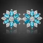Women Jewelry Gift Marquise Cut White Plated Flower Stud Earrings