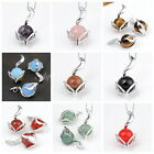 Quartz/Agate/Ametyst/Opal Gemstone Gem Bead Fox Pendant For Necklace DIY Gift