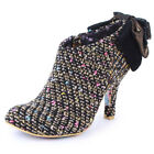 Irregular Choice Baby Beauty Womens Zip Textile New Shoes Size 3 to 8 Heels Gold