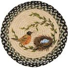 """Robins Nest 15.5"""" Round Chair Pad with 2 Tie Ribbons Hand Printed Braided Jute"""
