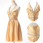 Vintage V neck Cocktail Formal Prom Bridesmaid Gown Party Evening Shining Dress