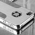 For iPhone 4 4S Silver Aluminum Steel Coating Hard PC Cover Case + Screen Film