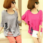 Sexy Womens Ripped Slashed Torn Rivet Studded Shoulder T-Shirt Top Clubwear
