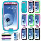 Pen + Hybrid Best Impact Dual Layer Case Cover For Samsung Galaxy S3 SIII i9300