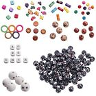 100/200g Assorted Wooden Beads Colorful Charms Patterned Loose Beads Round Tube